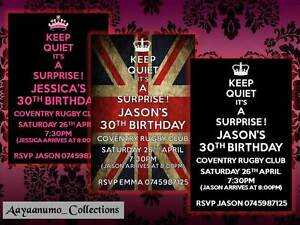10 x personalised surprise birthday invitations 18th 30th 40th