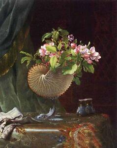 Oil-painting-Martin-Johnson-Heade-Victorian-Still-Life-with-Apple-Blossoms