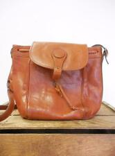 I PONTI Vintage British Tan Leather Drawstring Bucket Bag Shoulder Purse *CLASP*
