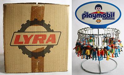 MEGA RARE VINTAGE 1974 PLAYMOBIL LYRA 3L07 KEYCHAINS 50 PCS BOX & DISPLAY STAND!