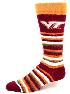 Virginia-Tech-Hokies-For-Bare-Feet-Muchas-Rayas-Fuzzy-Crew-Socks