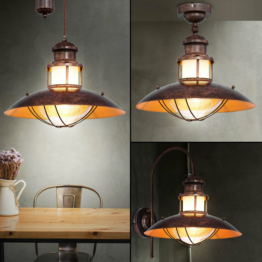Ceiling lamp grid pendulum movable glass hanging lamp wall spotlight rust braun