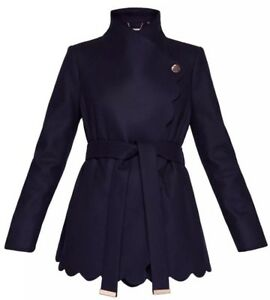6034b3ebd Ted Baker AASTAR Navy Blue Scallop Edge Short Wrap Coat RRP £269 New ...
