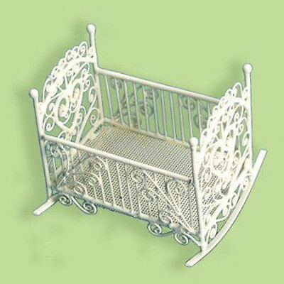 MINIATURE ORNATE WIRE ROCKING CRADLE--SCALE 1:12,Dollhouses,nursery,Butlers