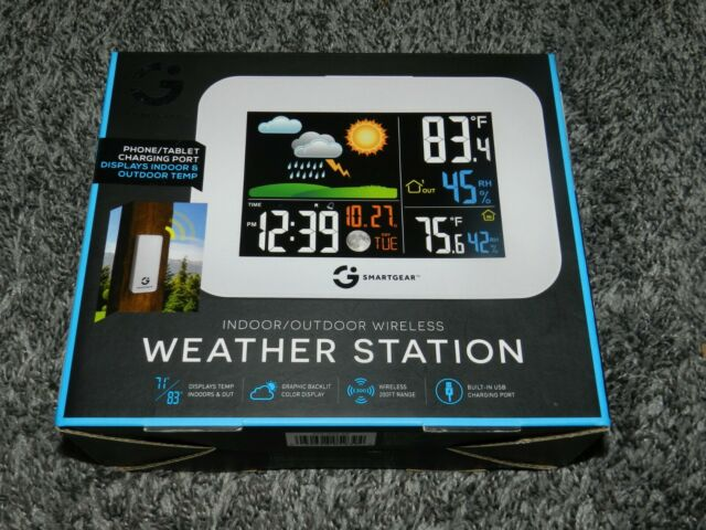 NEW in BOX SMARTGEAR INDOOR / OUTDOOR WIRELESS WEATHER STATION COLOR BACKLIT LCD