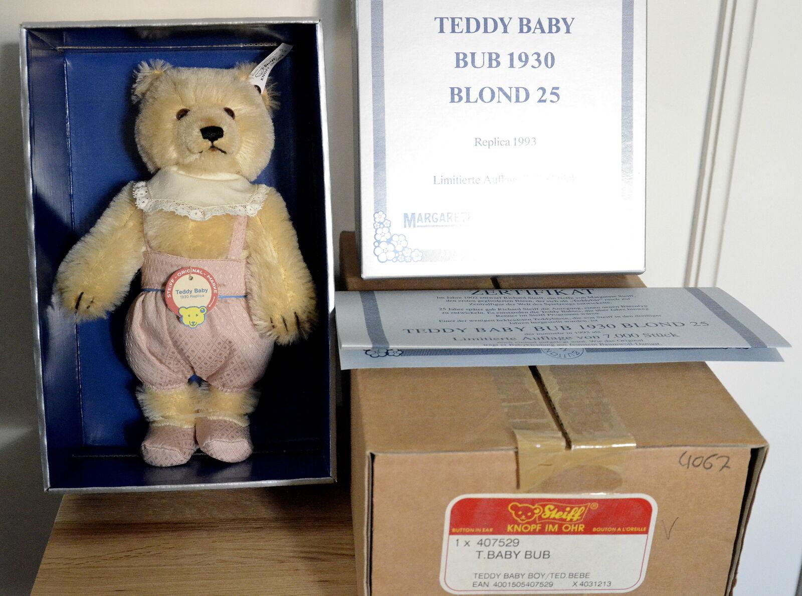 Limitiert  Steiff Teddy Baby Bub Boy 1930 Replika 1993 zur Geburt Taufe 407529