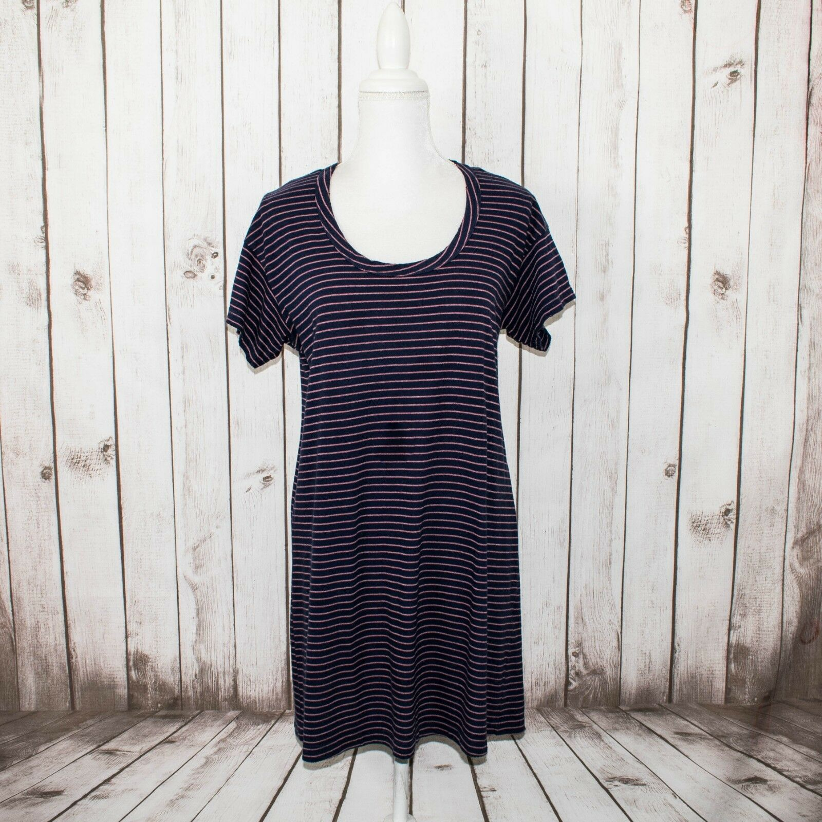 Current Elliott Women's Crew Knit Tee Dress bluee Pink Striped Distressed Size 0