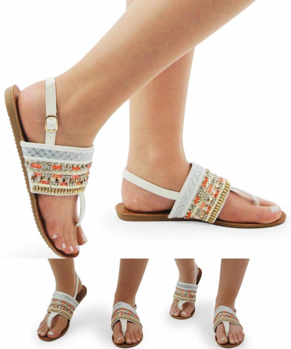 Ladies Womens Summer Beach Sling Embroidered Pearl T-Bar Flats Sling Beach Back Sandal Shoes 0e5471