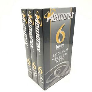 Lot-of-3-Memorex-6-Hours-Blank-Recordable-VHS-Video-Tape-SEALED-NEW-T-120