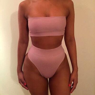 Womens High Waisted Bandage Bandeau Bikini Set Swimwear Padded Swimsuit Monokini