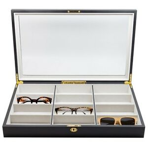 12 black wood eyeglass sunglass oversized glasses storage
