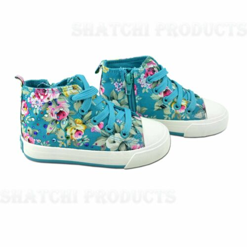 KIDS GIRLS FLAT LACE UP HIGH TOP PLIMSOLLS PUMPS CANVAS TRAINERS SHOES BOOTS