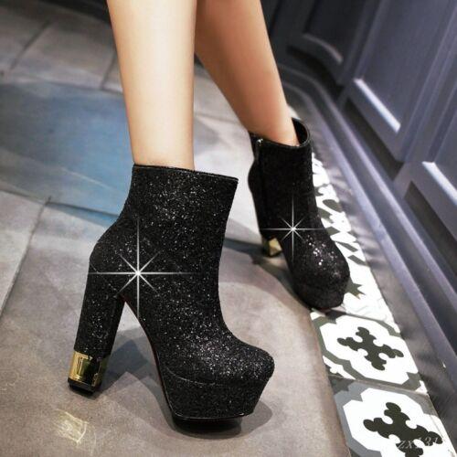 Bling talon chaussures paillettes bottine femmes clubwear glitter haut plateforme Talon wqFTRF