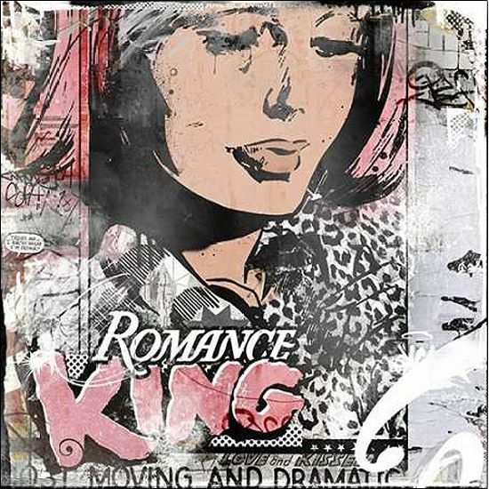 Albert Teis  Romance King Keilrahmen-Bild Leinwand Vintage Collage modern bunt