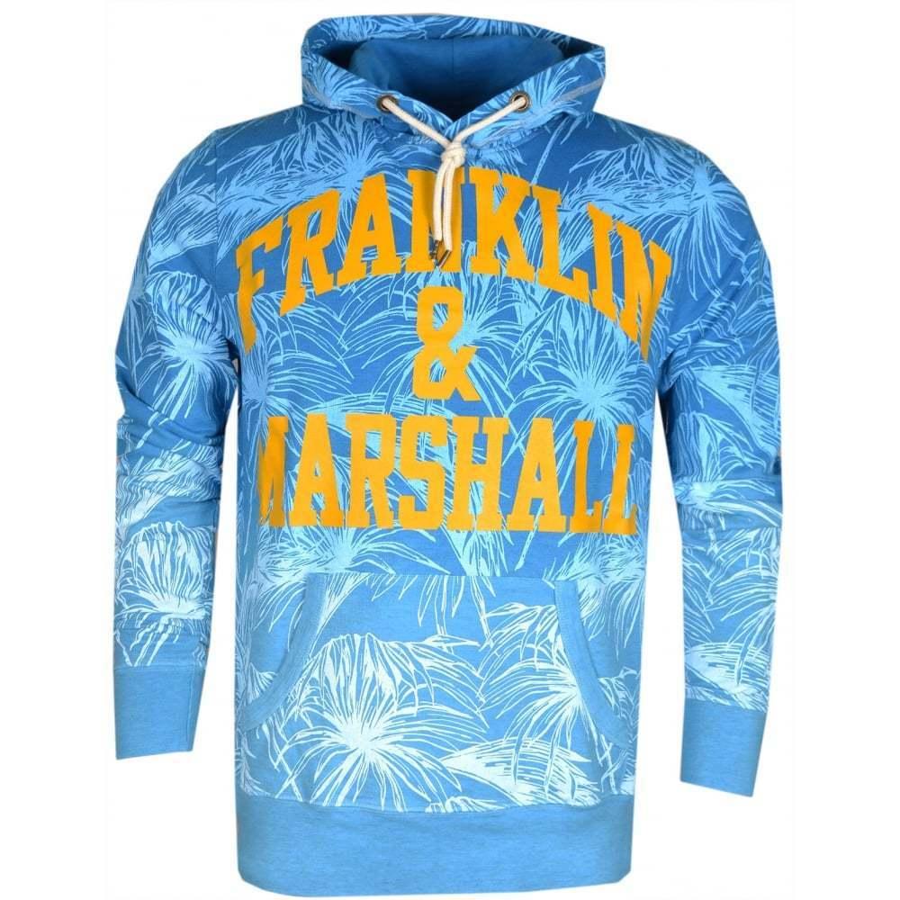 Franklin & Marshall MF081 Flower Print Atlantic Blau Hoodie