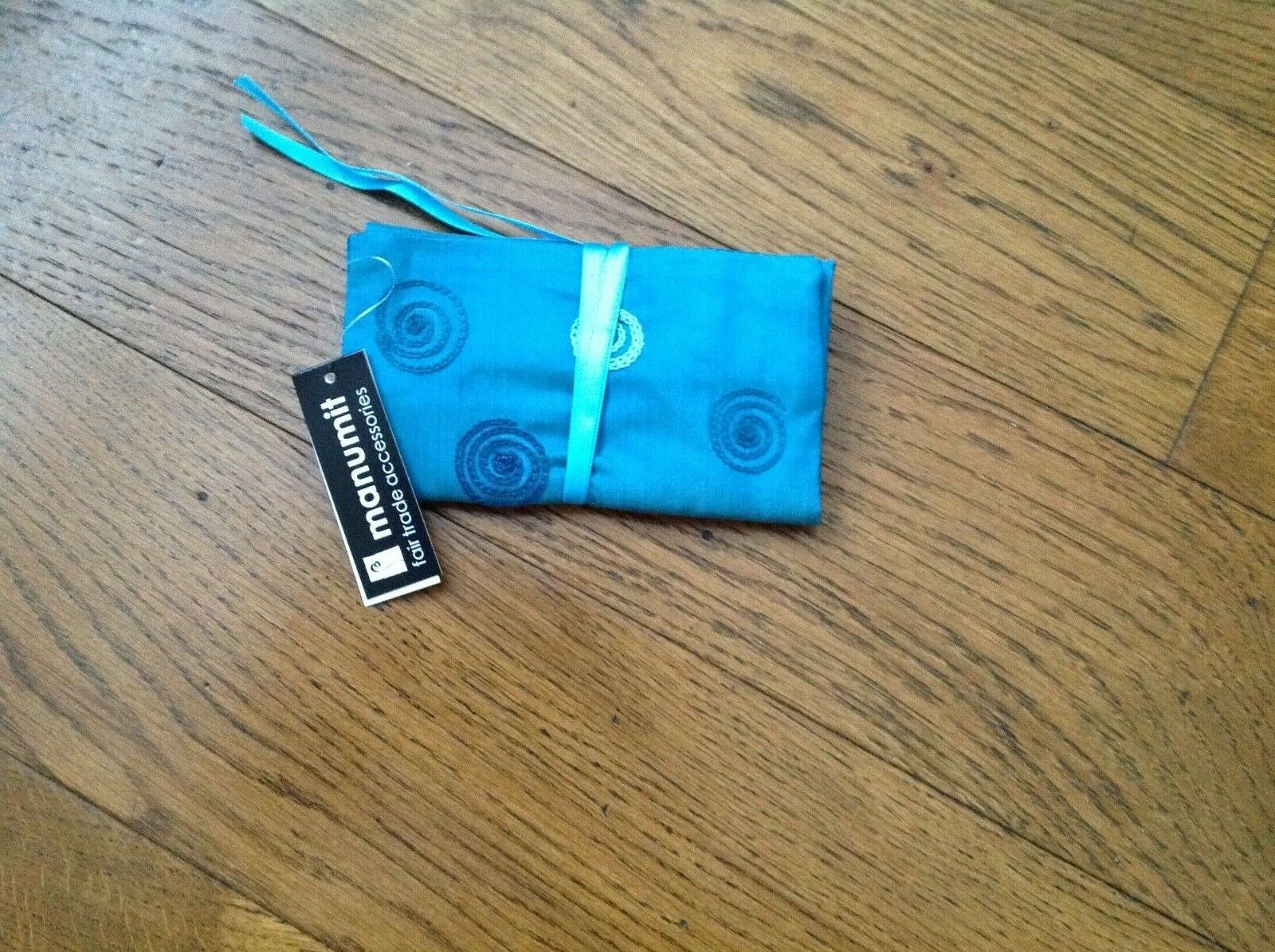 Manumit Fair Trade Jewellery Roll in Teal Blue with embroidered Circles in Blues