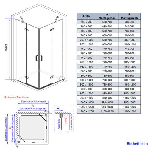 Duschkabine 75x80//90x90//90x75cm Eckeinstieg Duschabtrennung Duschwand ESG-Glas