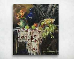 Large-Still-life-painting-IMPRESSIONISM-original-Oil-canvas-by-A-Onipchenko