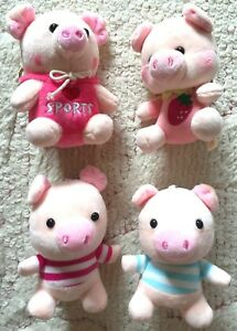 Lovely-Animal-Pig-Stuffed-Plush-Soft-Toy-Key-Charm-Mobile-Phone-Chain-Bag-JAPAN