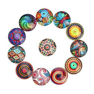 10-25-MM-Mixed-Patterns-Round-Glass-Cabochon-Cameo-Pendant-Flat-Back-20pcs-lot