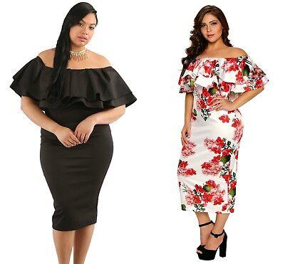 Plus Size Floral Layered Ruffle Off Shoulder Curvaceous Dress Size 16-26