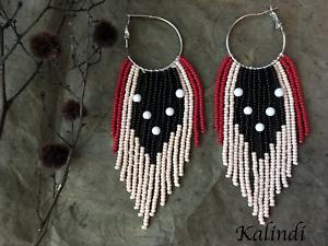 Hoop-earrings-Long-Seed-Bead-Earrings-Fringe-Earrings-Beaded-Shoulder-Duster