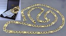 Gold 585 echt 14k Plattenkette diamantiert Damen Herren gelbgold Hals kette 55cm