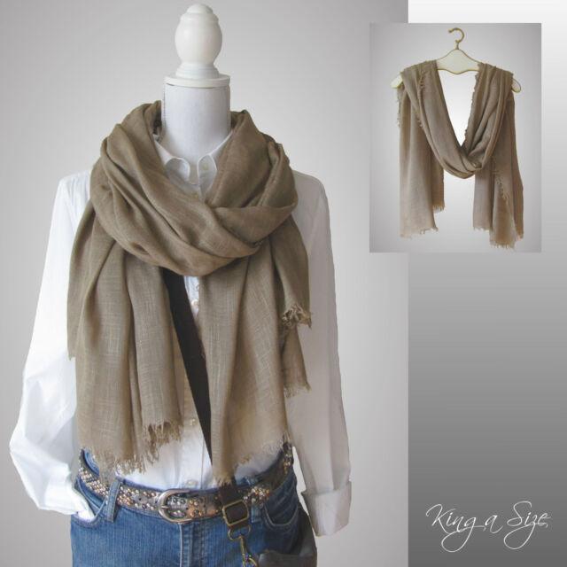 Schal *** Scarf Schultertuch Tuch Loop Halstuch - Einfarbig - SLA beige