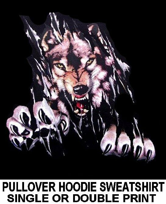 WILD WOLF TEARING SHIRT WEREWOLF WOLFMAN BIKER HOODIE PULLOVER SWEATSHIRT XT1