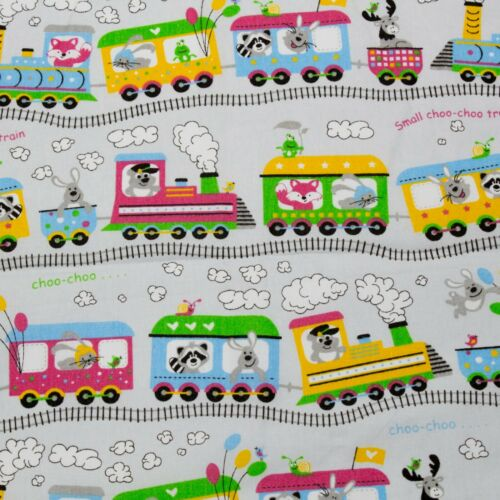 Kids Animal Train Railway 100/% cotton White Fabric 160cm wide sewing patchwork