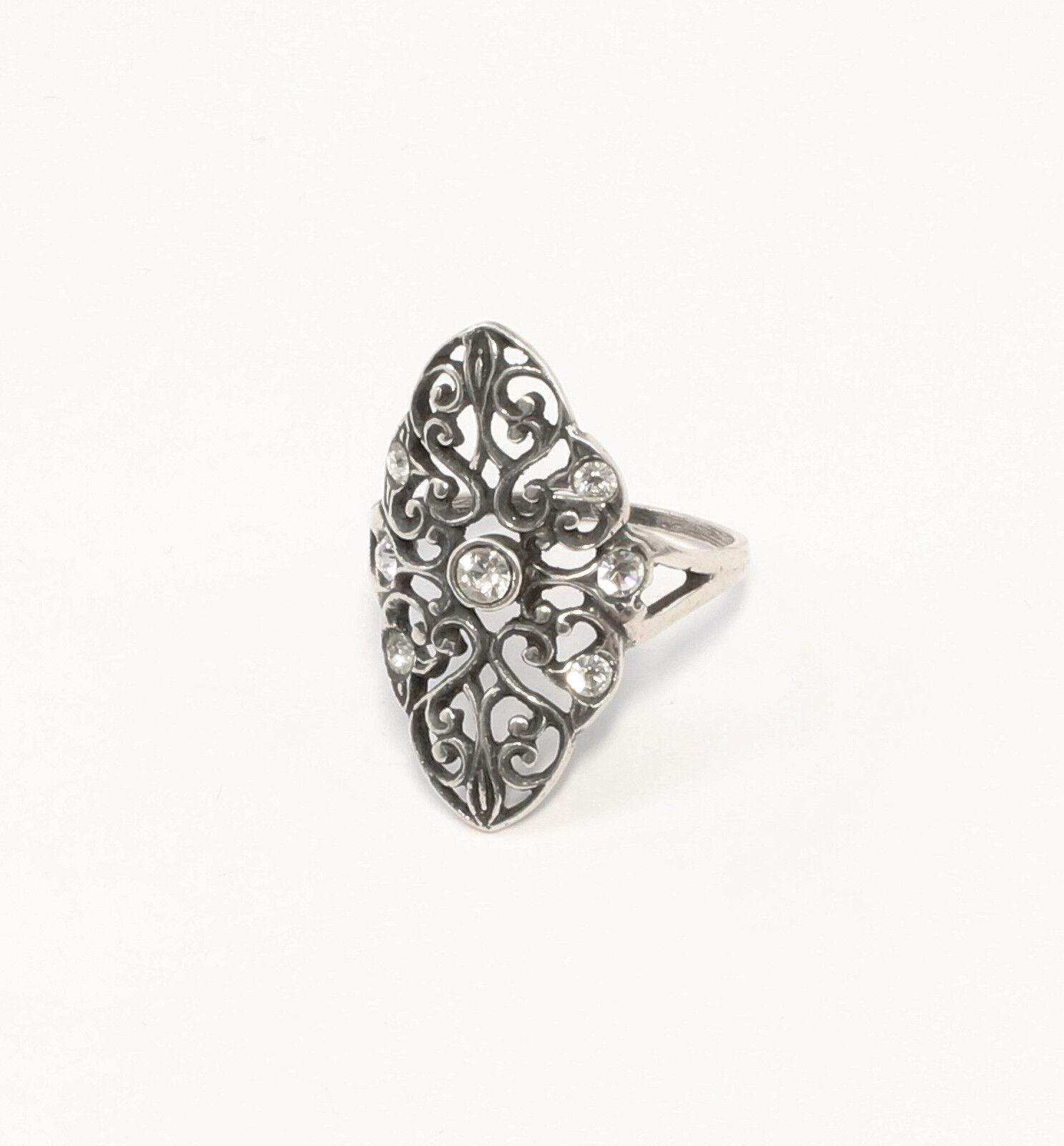 925er silver Ring mit Swarovski-Steinen Gr. 52 gewundene Form 9901393