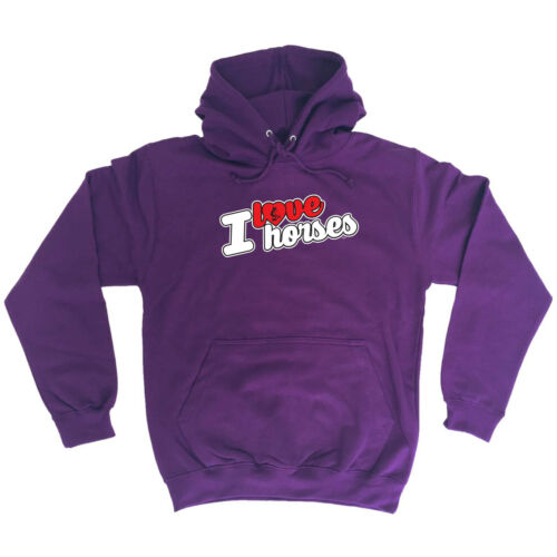 I Love Horses Stencil Funny Novelty Hoodie Hoody hooded Top