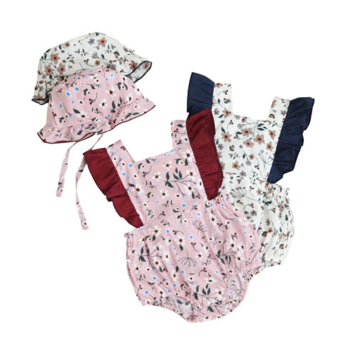 Sweet Newborn Baby Girl Small Floral Romper Bodysuit Jumpsuit Clothes Outfits UK