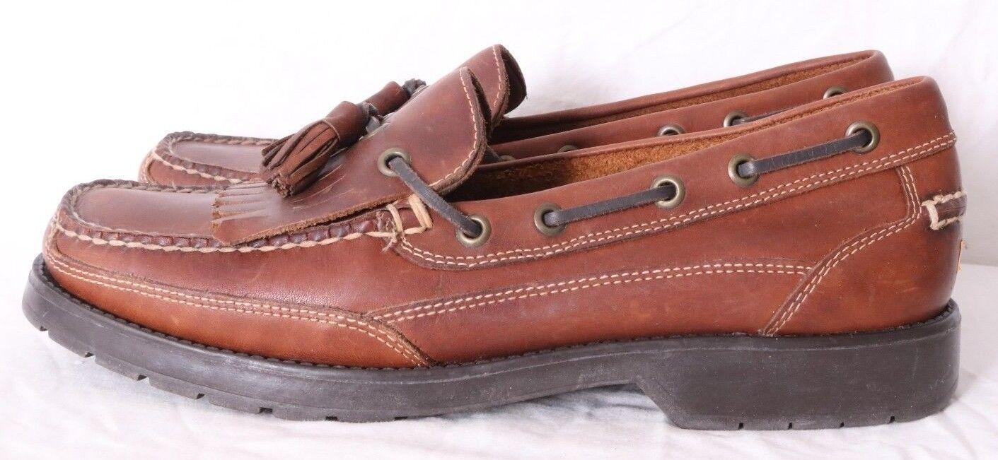 G.H. Bass Flex Futures Brown Leather Kiltie Moc Slip-On Boat shoes Men's US 9.5M