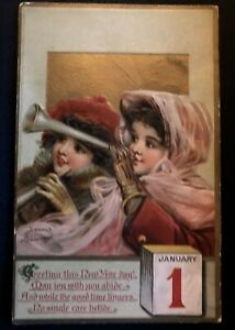 Pretty-Victorian-Girls-with-Horn-A-s-Brundage-Antique-New-Year-Postcard-s656