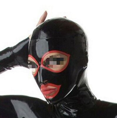 715 Latex Rubber Gummi Mask Hood blindfold halskorsett customized 0.7mm lace up