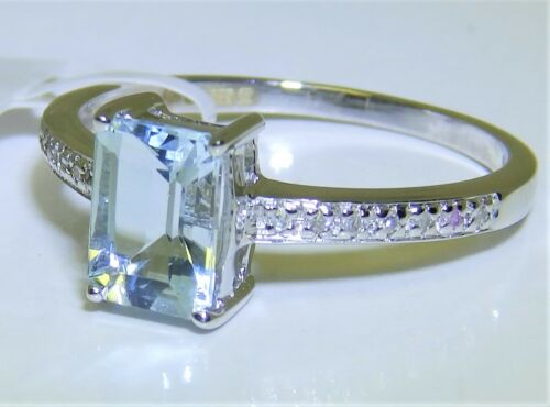 0.8CT Aguamarina Diamante Anillo Art Decó 9 CT Solitario De Oro Blanco 9 quilates