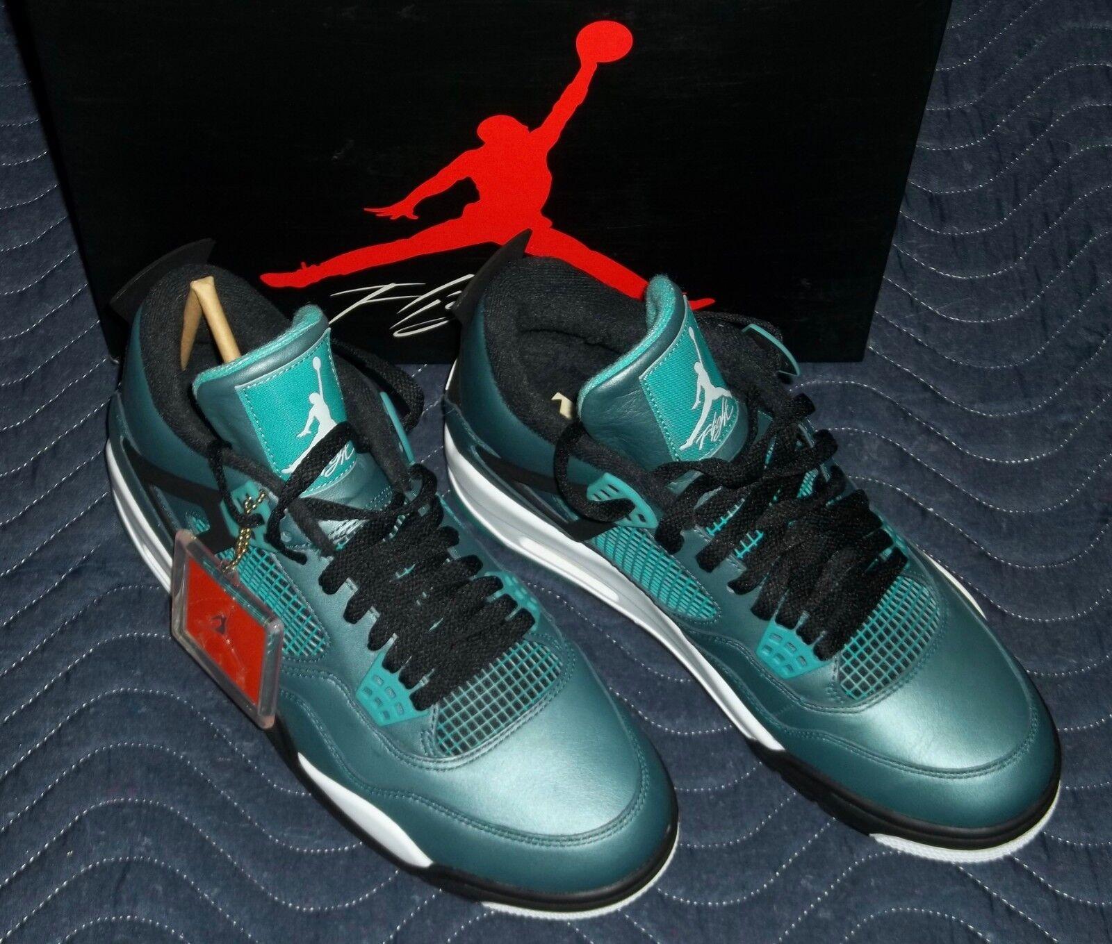 930636c2478 Men's Nike Air Jordan 4 Retro 30th Teal Black White shoes 705331-330 Size  10.5