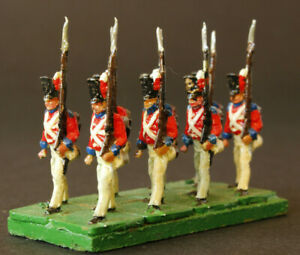 1-72-scale-Painted-8-British-Infantry-Waterloo-AIRFIX-Marching-Based