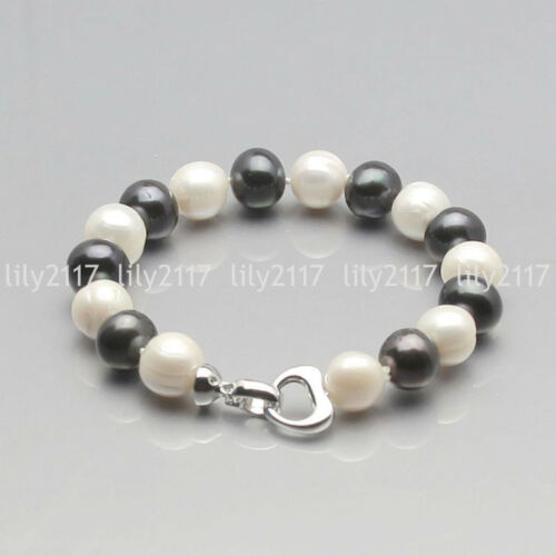 "9-10 mm Naturel Authentique Blanc Rose Noir Freshwater Cultured Pearl Bracelet 7.5/"""