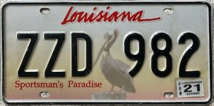 GENUINE-American-Louisiana-Paradise-Pelican-USA-License-Number-Plate-Tag-ZZD-982