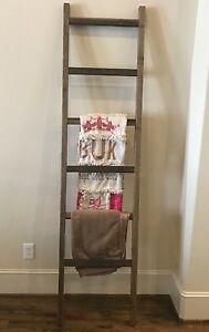 Rustic Weathered 7 Foot Wood Blanket Quilt Towel Ladder Farmhouse Urban Country Ebay