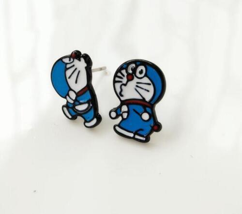 2pcs DORAEMON chat bleu Pout métal boucle d/'oreille Ear Stud Boucles d/'Oreilles Clous Unisexe