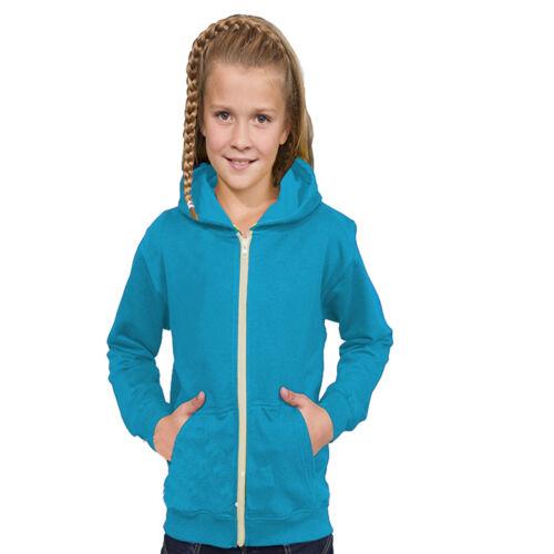Enfants garçons /& fille plain sweat à capuche sweat à capuche tailles âge 3 13 ans école fermeture éclair sweat