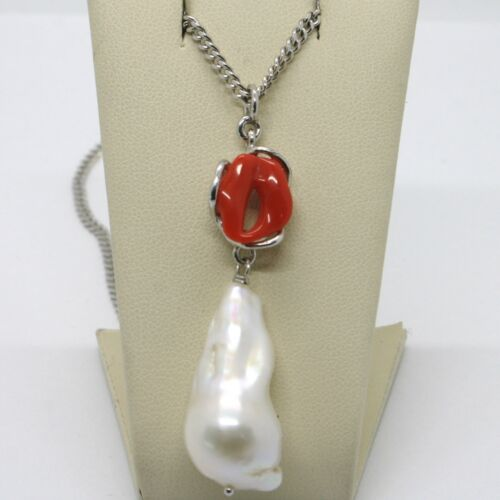 MADE IN ITALY DROP WHITE BAROQUE PEARL RED CORAL 925 STERLING SILVER NECKLACE