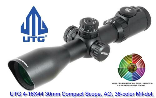 Leapers UTG 4-16X44 30mm Compact Scope AO 36-Color Mil-dot Rings SCP3-UM416AOIEW