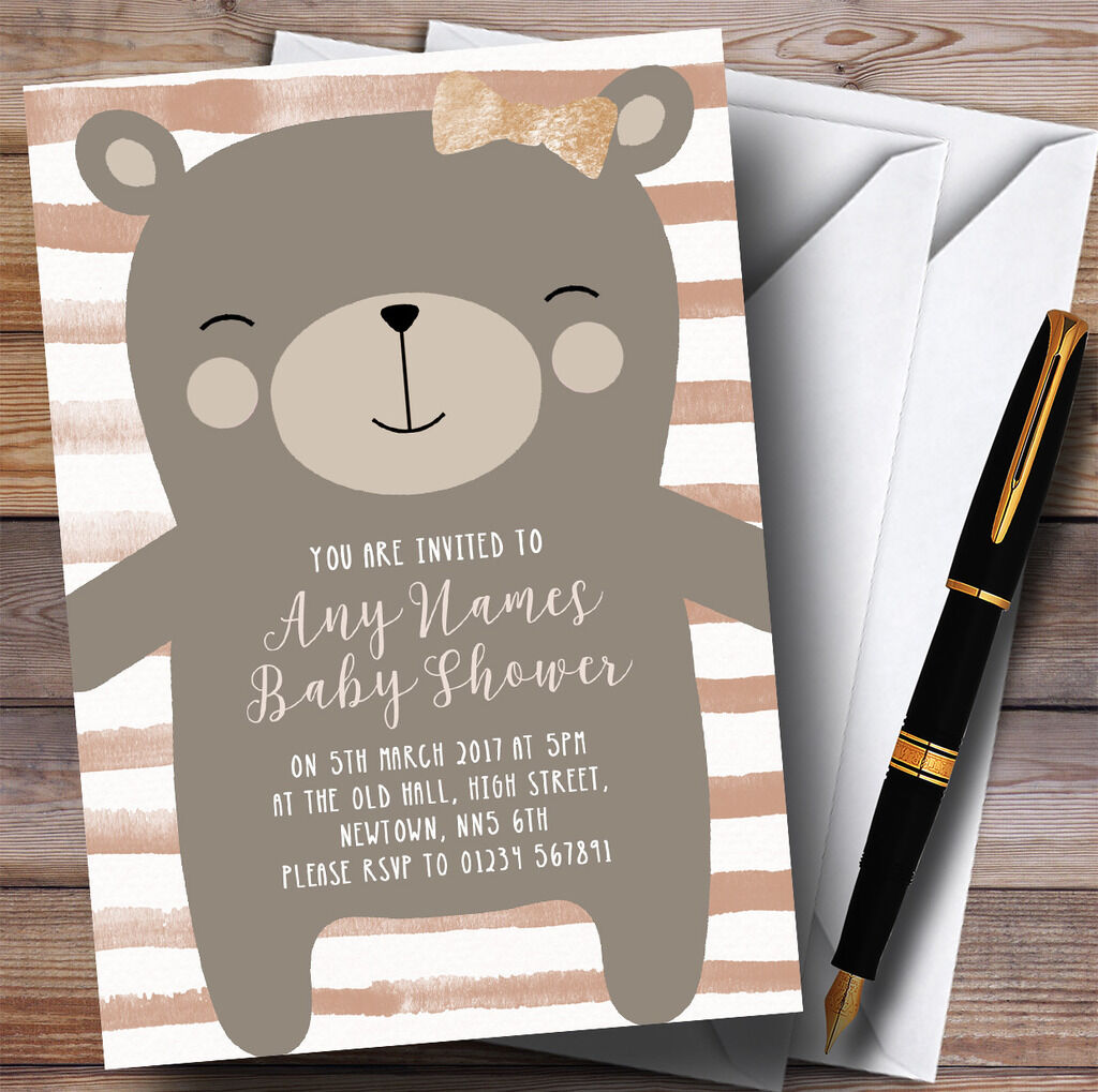 Large Teddy Bear Neutral Invitations Baby Shower Invitations
