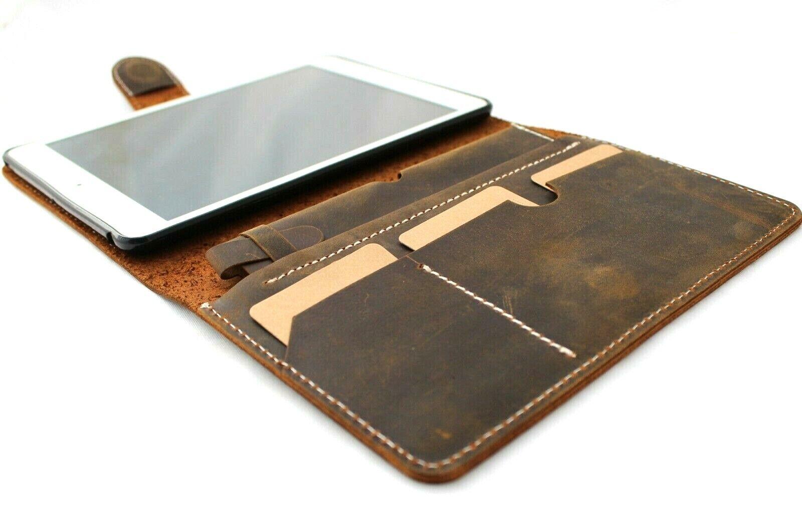 Image 61 - Genuine Vintage Leather case fo apple iPad mini 5 Card Magnetic 2019 pen wallet