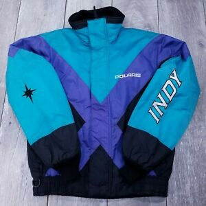 Vintage-Polaris-Indy-Full-Zip-Jacket-Mens-Medium-Racing-Snowmobile-Insulated-USA