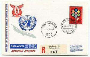 Ffc 1973 Australia Airlines First Flight Dc 9 Geneve Vienne Wien Registered Onu